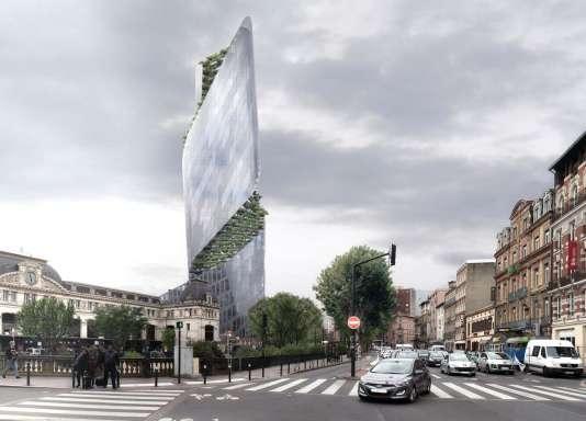 Vue d'artiste de l'Occitanie Tower, à Toulouse, depuis le quartier de la gare de Matabiau