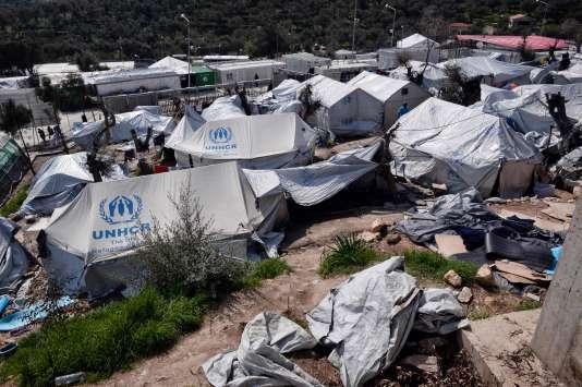 Vue du camp de Moira, sur l'île de Lesbos, en Grèce, le 16 mars.