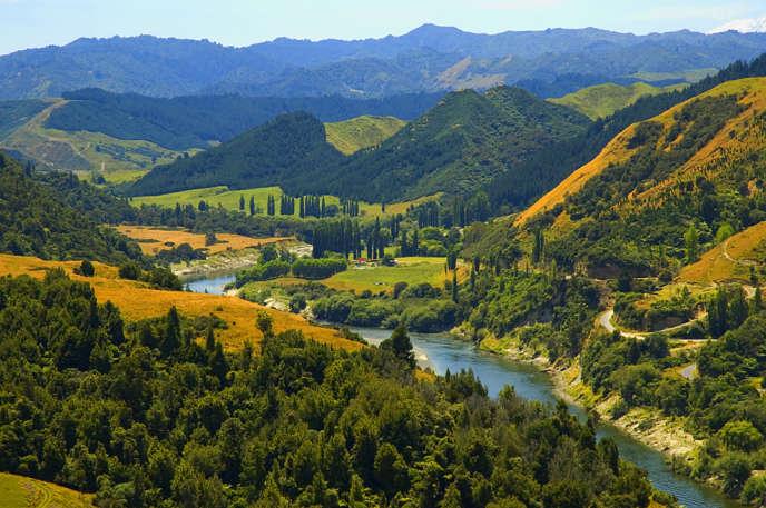 Le fleuve Whanganui, dans l'île du Nord, en Nouvelle-Zélande.