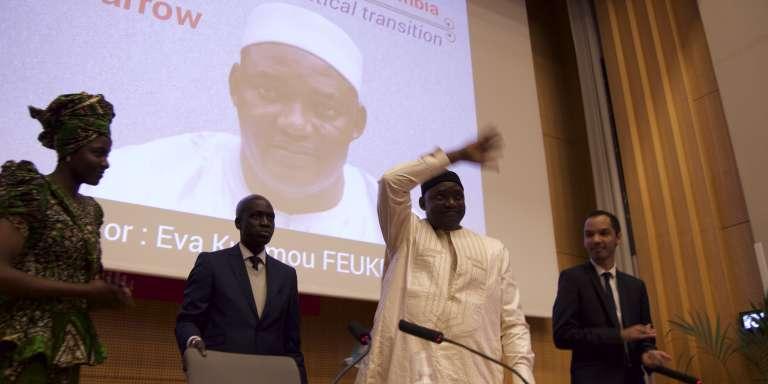 Le président de la Gambie, Adama Barrow, lors de son passage à Sciences-Po Paris, le 15 mars 2017.
