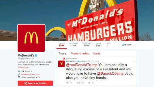 Capture d'écran du tweet posté sur le compte officiel de l'entreprise McDonald's, le 16 mars, et effacé depuis.