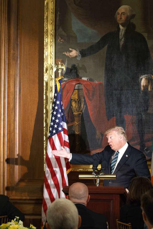 Le président Donald Trump lors d'un déjeuner célébrant « les amis de l'Irlande» au Capitole, à Washington.
