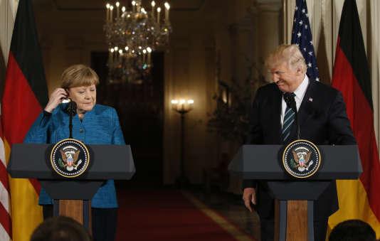 La conférence de presse commune d'Angela Merkel et Donald Trump à Washington (Etats-Unis), le 17 mars 2017