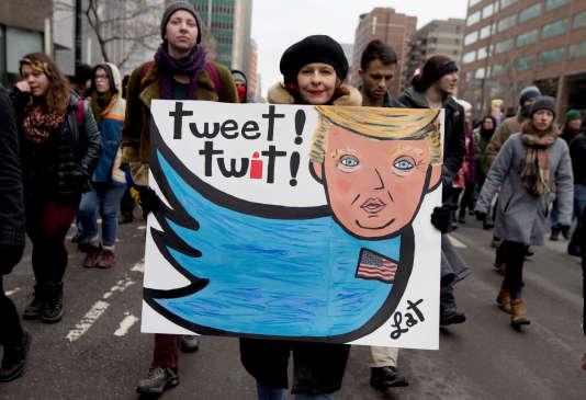 Des anti-Trump, le 20 janvier à Montréal.
