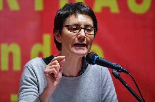 Nathalie Arthaud en meeting à Montpellier, le 3 février.