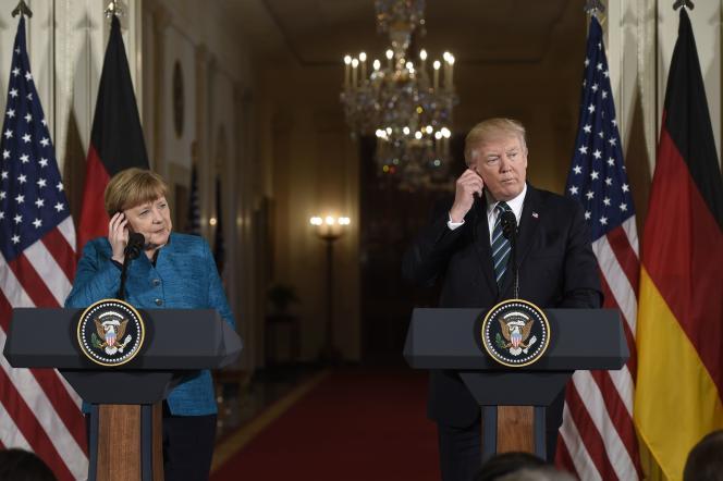 Le président américain Donald Trump et la chancelière allemande, Angela Merkel, lors d'une conférence de presse commune dans l'East Room de la Maison Blanche, le17mars.