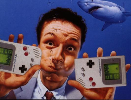 Détail d'une affiche publicitaire pour la GameBoy, le GameBoy, enfin, la vieille machine de Nintendo.