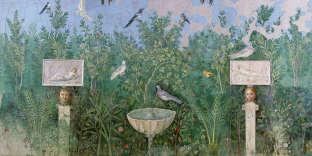 Fresque restaurée venue de la Maison du bracelet d'or (30-35 après J.-C.) à Pompéi (Italie).