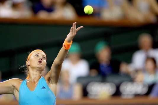 Kristina Mladenovic lors de son match contre Elena Vesnina , le 17 mars, à Indian Wells.