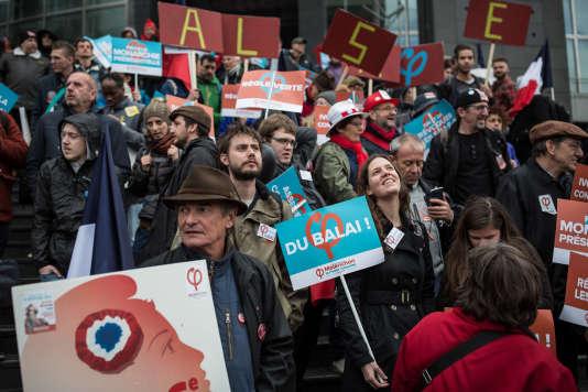 Défilé pour la VIe République de La France insoumise de Jean-Luc Melenchon, candidat à la présidentielle.