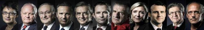 Les onze candidats de la présidentielle 2017.