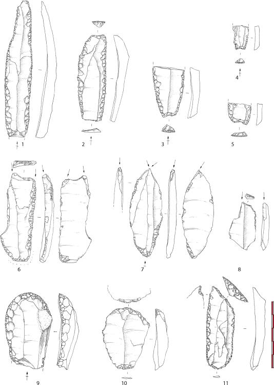 Outils de pierre taillée retrouvés sur le site du rocher de l'Impératrice (Finistère): lames (1-5), burins (6-8), grattoirs (9-10), foret (11).
