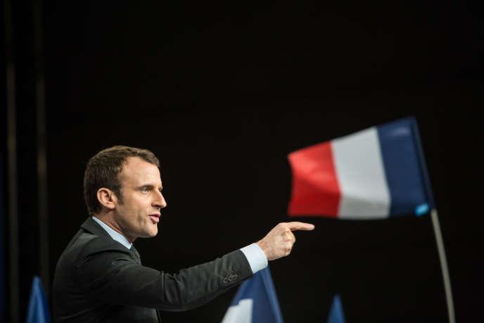 Le 17 mars 2017, Meeting d'Emmanuel Macron au Palais des congrès de Reims. Emmanuel Macron pendant son discours.