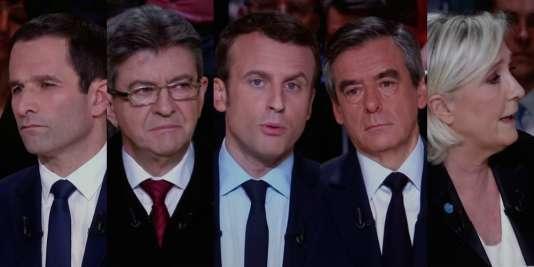 Images d'un écran diffusant le débat télévisé entre les cinq principaux candidats à la présidentielle 2017 sur le plateau de TF1, le 20 mars.