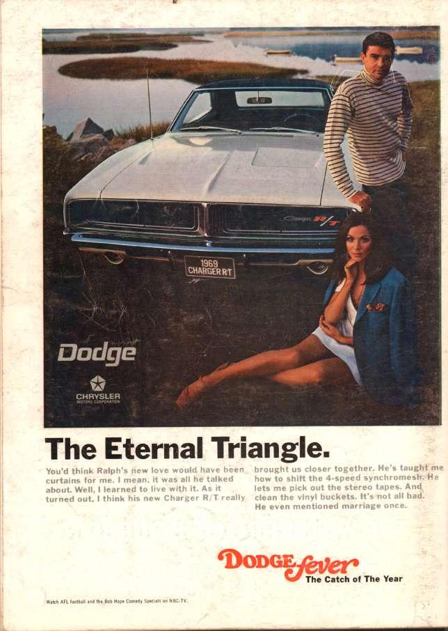 Publicité sur le thème du triangle amoureux.... La Charger aime les poncifs.