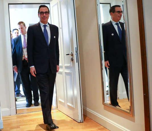 Le secrétaire au Trésor américain, Steven Mnuchin, vendredi 17mars, au sommet du G20, à Baden-Baden (Bade-Wurtemberg).
