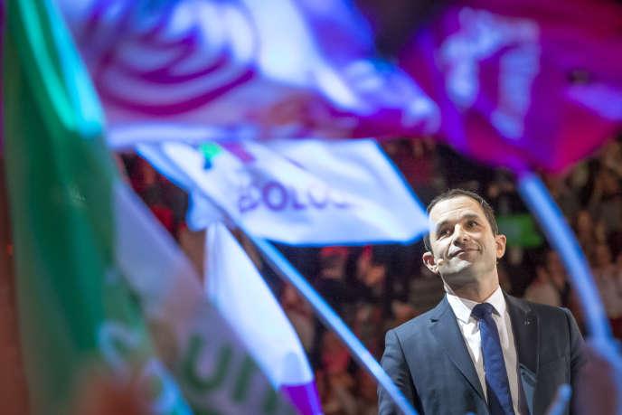 Meeting de campagne de Benoît Hamon, candidat socialiste à la présidentielle2017, à l'AccorHotels Arena, à Paris, dimanche19 mars.