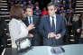 Emmanuel Macron et François Fillon participent au débat télévisé entre les cinq principaux candidats à la présidentielle, lundi 20 mars.
