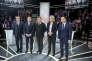 François Fillon, Emmanuel Macron, Jean-Luc Mélenchon, Marine Le Pen et Benoît Hamon, avant le débat télévisé du lundi 20 mars 2017.