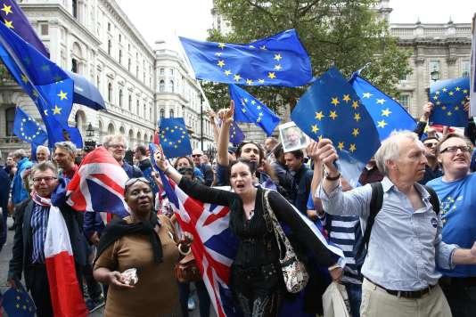 Manifestation pour le maintien du Royaume-Uni dans l'Union européenne, le 3septembre2016, à Londres.