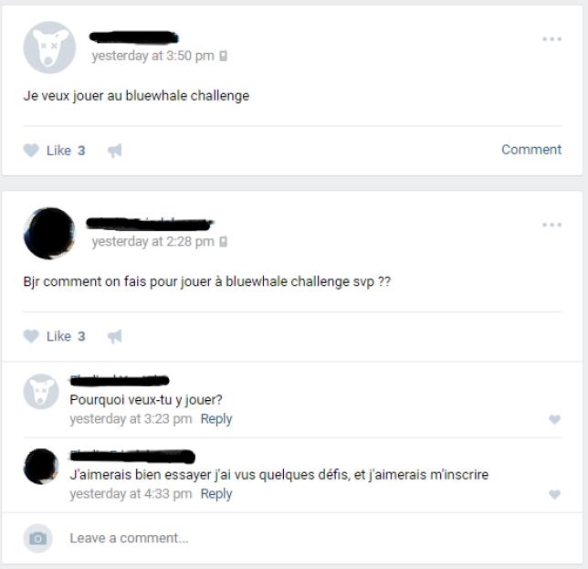 Au sein de la communauté francophone, des internautes cherchent à participer au jeu macabre.