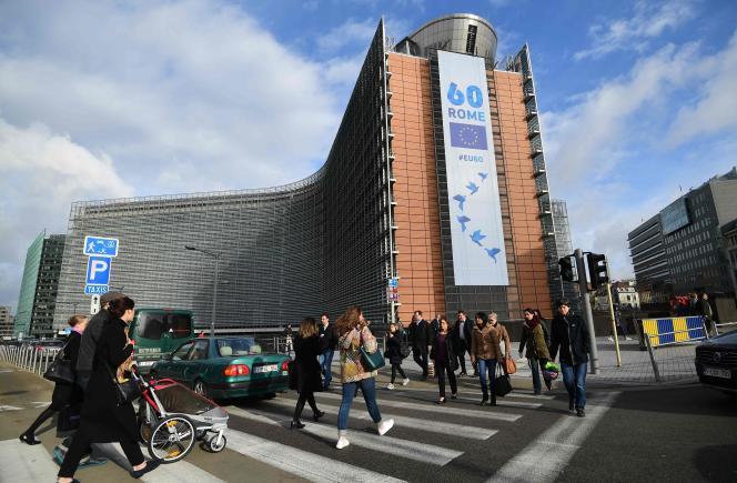 Le bâtiment de la Commission européenne, à Bruxelles, le 21 mars.