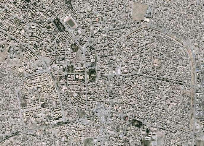 Vue aérienne de Rakka, ville syrienne tenue par l'Etat islamique, le 11 mars 2017.