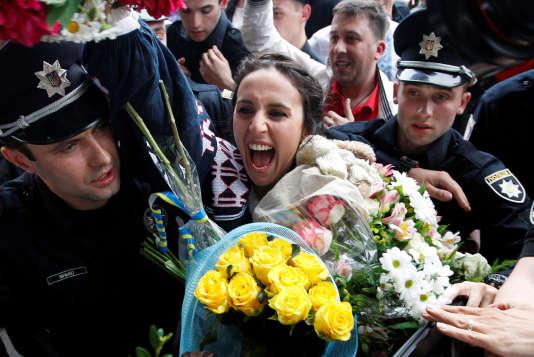 L'Ukrainienne Susana Jamaladinova, connue sous le nom de Jamala, gagnante de l'Eurovision lors de la dernière édition, à Kiev en mai 2016.