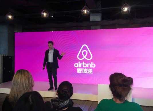 Brian Chesky, le patron d'Airbnb, était de passage à Shanghaï, mercredi 22mars, pour annoncer la montée en puissance de son entreprise dans le pays.