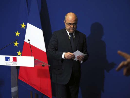 Bruno Le Roux, après l'annonce de sa démission du gouvernement, à Bobigny, le 21mars.