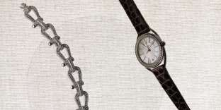 Bracelet collection Force 10 en or blanc et diamants, Fred. Montre collection Liens Lumière, Chaumet.