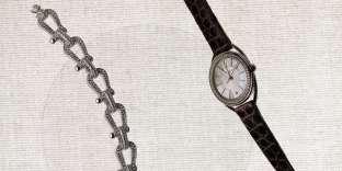Bracelet collection Force 10 en or blanc et diamants, Fred. Montre collection Liens Lumière, Chaumet.