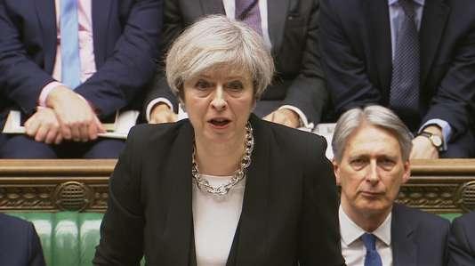 La première ministre britannique, Theresa May, le 23 mars, au Parlement britannique, au lendemain de l'attentat de Londres.