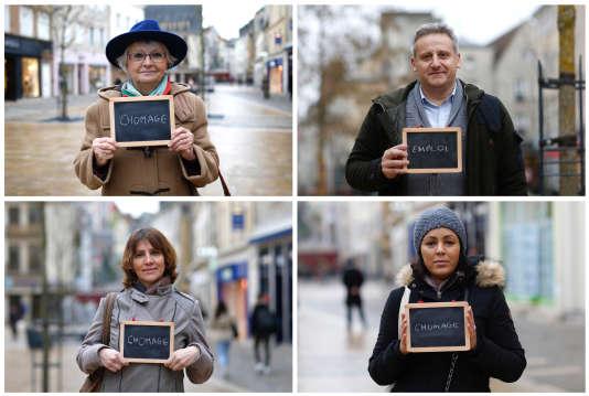 Des personnes rencontrées par l'agence Reuters à Chartres, en février, indiquent ce que sont pour elles les enjeux principaux des élections à venir.