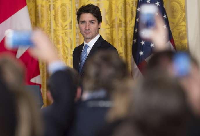 Le premier ministre canadien Justin Trudeau, à Washington, lors de sa conférence de presse avec Donald Trump à la Maison Blanche, le 13 février.
