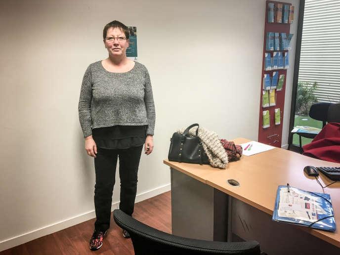 Nicole Chaumeil, le 8mars, à l'agence Pôle emploi d'Aurillac (Cantal).