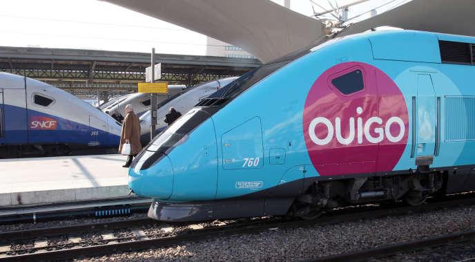 Un train Ouigo, à la Gare de lyon, 19 février 2013.