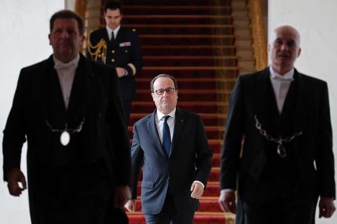 Le président François Hollande, à l'Elysée, le 23 mars.