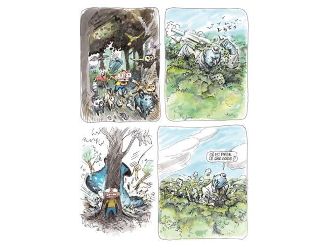 Une planche du dernier album de bande dessinée de Winschluss, à la galerie Vallois.