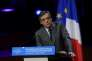 French right-wing Les Republicains (LR) party candidate for the presidential election Francois Fillon gives a speech during a meeting with members of the Association of Mayors of France (AMF) on March 22, 2017 in Paris. / AFP / Christophe ARCHAMBAULT