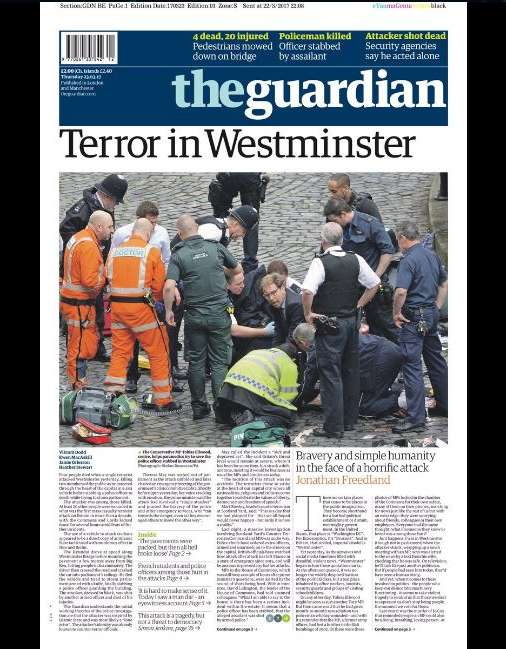 La «une» de«The Guardian», du 23 mars.
