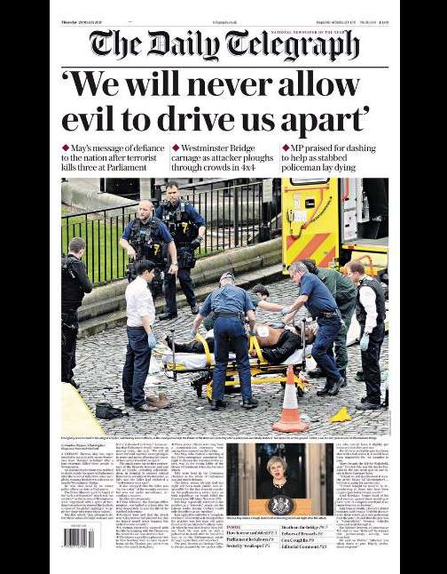 La «une» de« The Daily Telegraph», du 23 mars.
