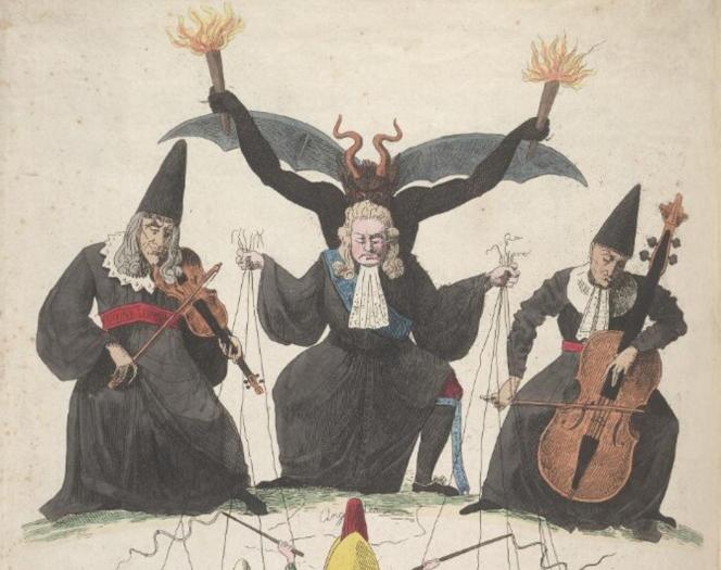 «Le cabinet noir, ou les pantins du XIXesiècle», une caricature française de 1815.
