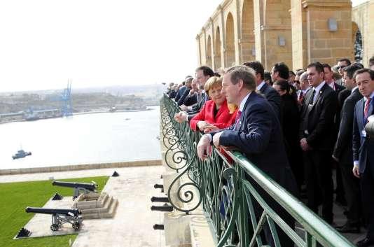 La chancelière allemande, Angela Merkel, et des dirigeants européens, à La Valette (Malte), le 3 février.
