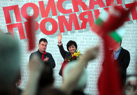 Kornelia Ninova, dirigeante du Parti socialiste bulgare, en campagne, le 24 mars 2017.
