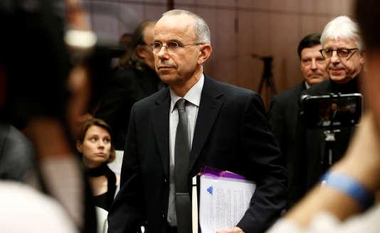 Günter Lubitz, le père d'Andreas Lubitz, à son arrivée pour une conférence de presse, le 24 mars, àBerlin.