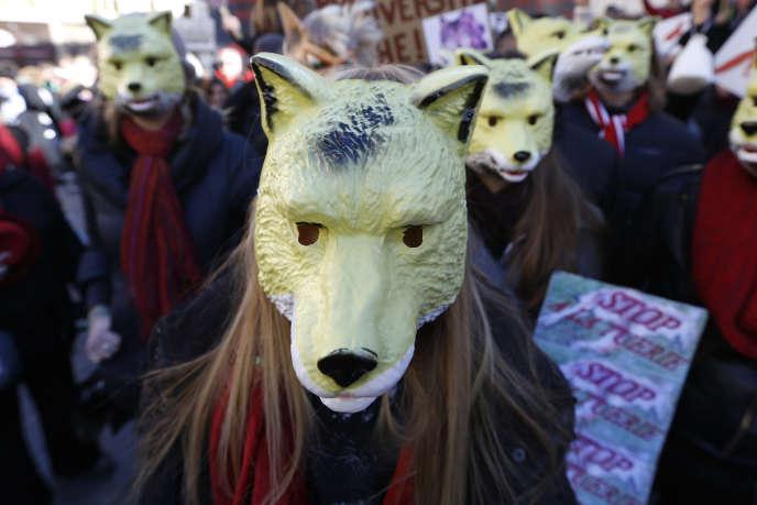 Manifestation pour la défense du loup, à Nice, le 17 janvier 2016.