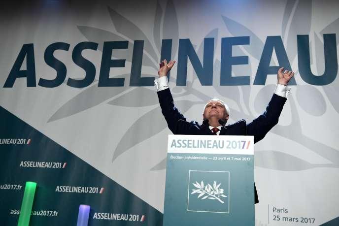 François Asselineau, le candidat de l'UPR à la présidentielle, samedi 25 mars.