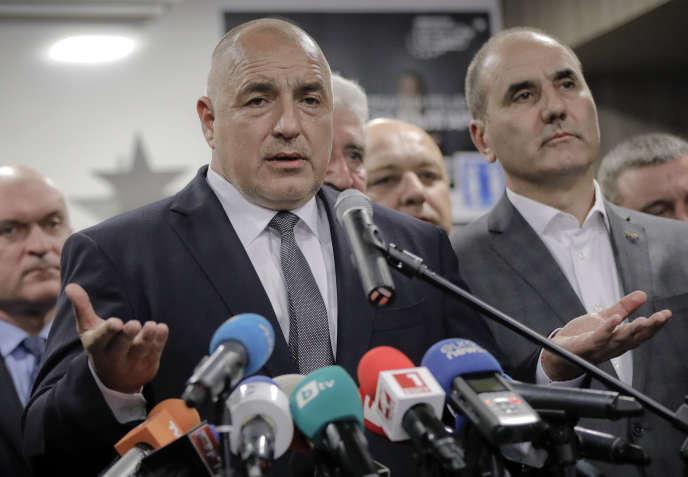 Boïko Borissov, leader du parti de centre droit GERB, lors d'une déclaration à Sofia, en Bulgarie, le 26 mars.