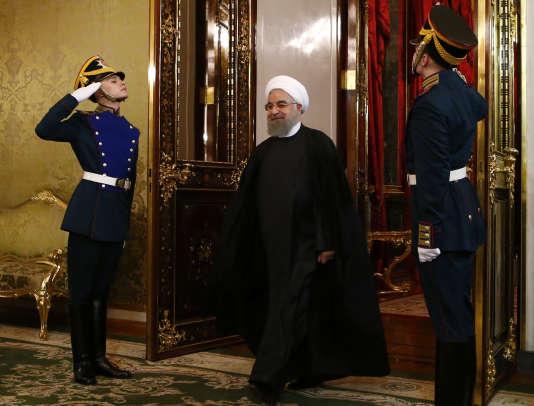 Le président iranien, Hassan Rohani,mardi 28 mars au Kremlin.